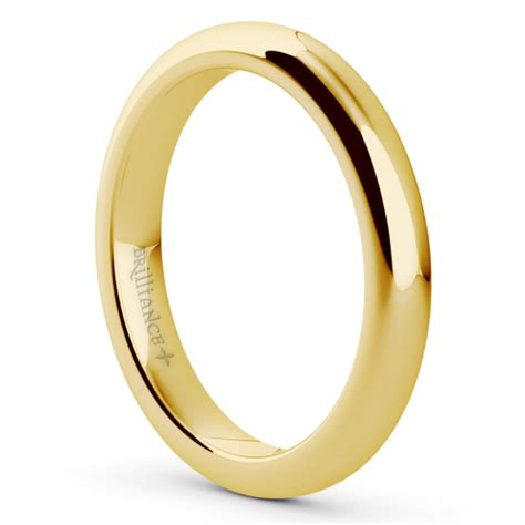 comfort rings comfort fit men s wedding ring in yellow gold 3mm