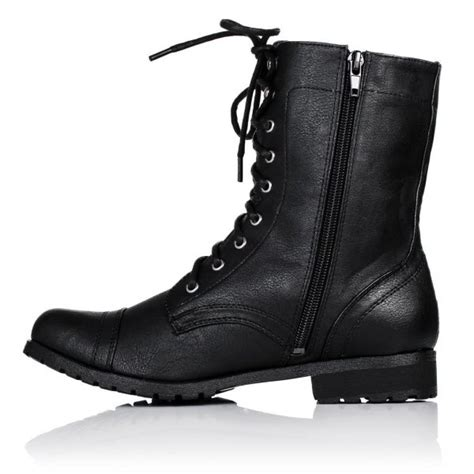 buy flat lace up zip biker ankle boots black leather