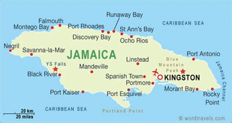 jamaica map with cities jamaica major cities map