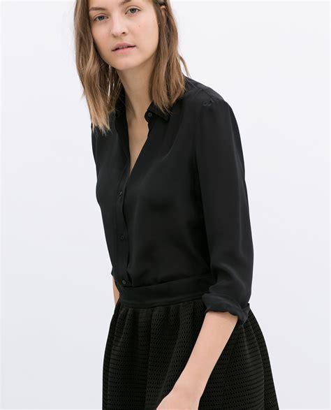 Blouse Simple Zara Kubus silk blouse zara collar blouses