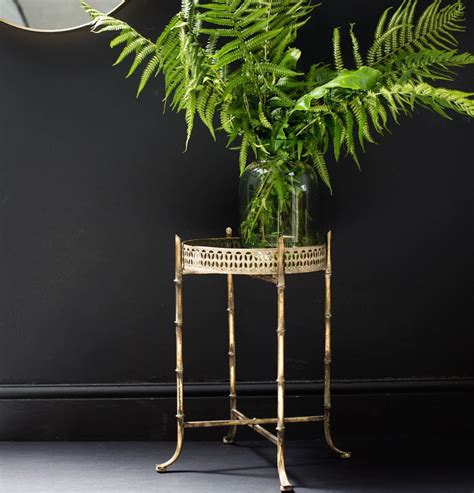 gold bamboo table l gold bamboo side table by the forest co