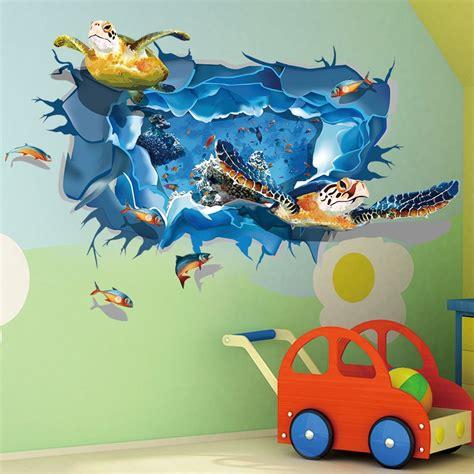 brand new diy 3d pvc sea turtle fish wall sticker