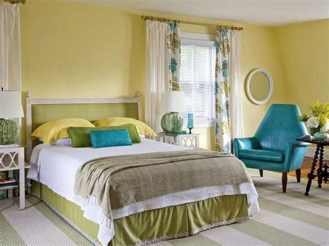 fresh bright bedroom light yellow walls white ceiling