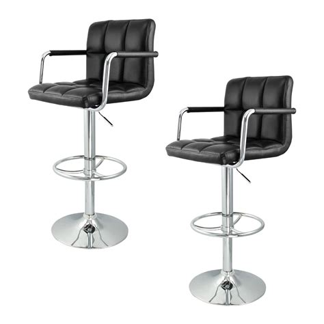 Contemporary Swivel Adjustable Bar Stool With Arm Rests by 2 Swivel Bar Stool Black W Arm Pu Leather Modern