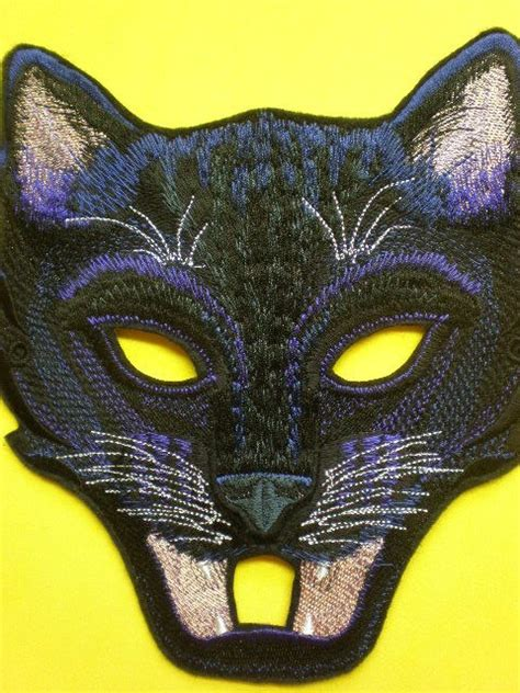embroidered black cat full face mask panther halloween
