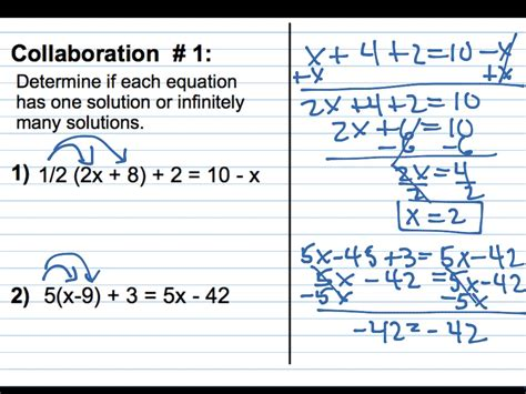 showme one solution no solution infinitely many solutions