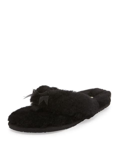 ugg slippers flip flops sheepskin ugg fluff shearling fur flip flop slipper in black lyst