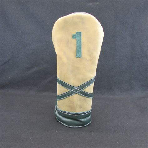 Handmade Golf Headcovers - tanned custom leather dk green driver headcover 1 of