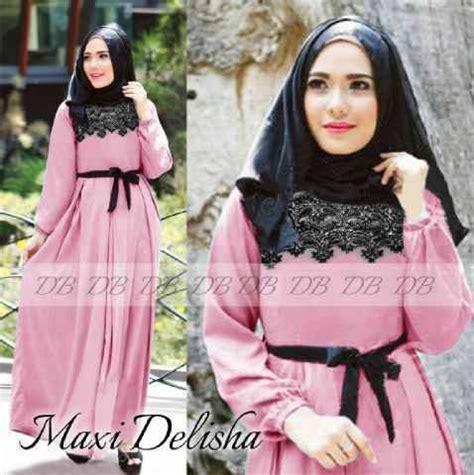 Anissa Maxi Busana Muslim model baju muslim syar i dewasa maxi delisha pink gamis modern pink maxis and