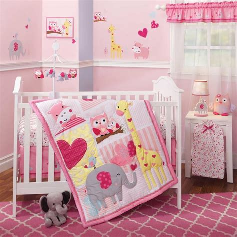 girl elephant crib bedding jungle animals owls giraffe elephant baby girls nursery 3