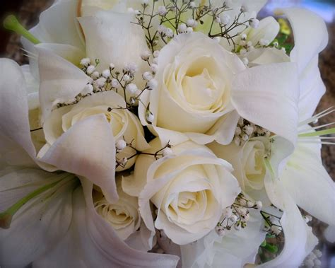 Wedding Bouquet White Roses by The Flower White Bridal Bouquet