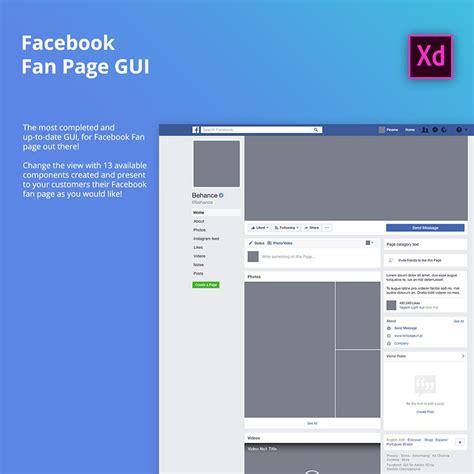 fb fan page facebook fan page gui for desktop adobe xd freebiesui