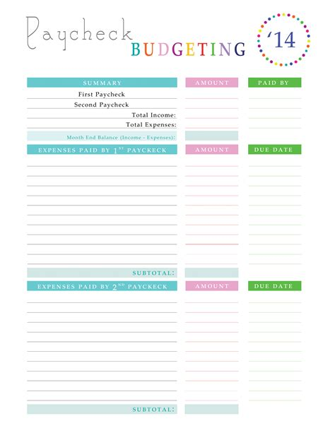 7 Best Images Of Printable Paycheck Budget Free Printable Paycheck Budget Printable Bi Weekly Paycheck Planner Template