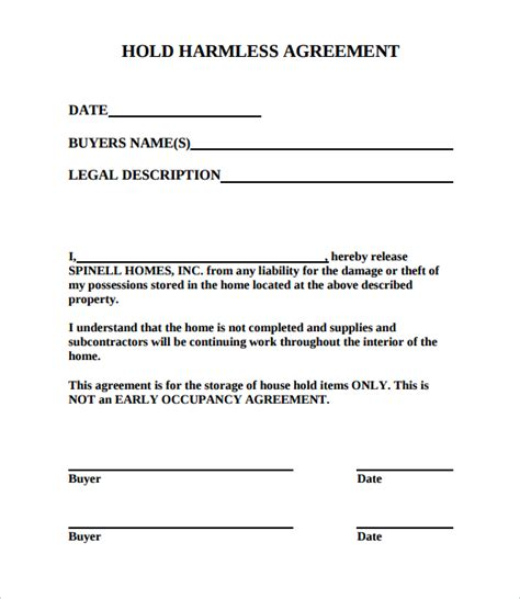 hold harmless agreement template hold harmless agreement 11 documents in pdf