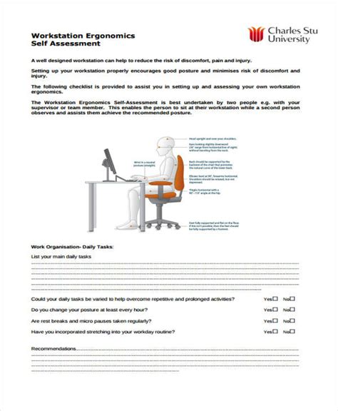 ergonomic assessment template self assessment form template