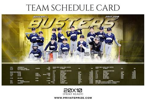photoshop team card template baseball busters team sports schedule card photoshop