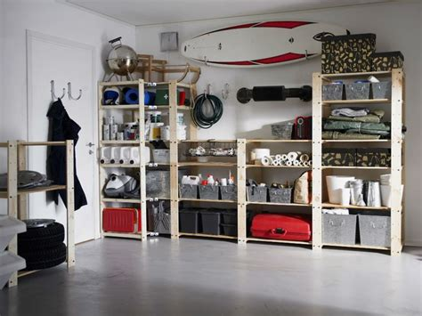 ikea garage organization love these wooden shelves our next adventure pinterest