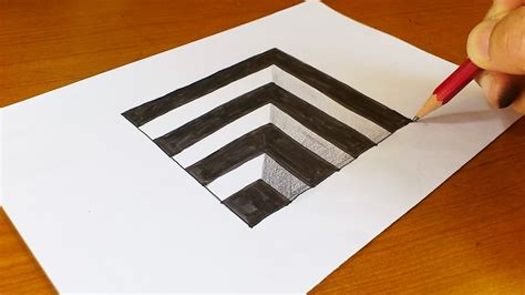 How To Make Illusions On Paper - easy how to draw 3d for anamorphic