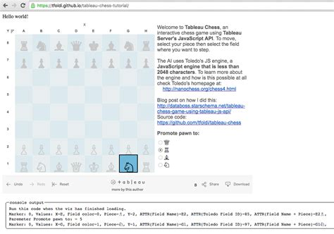 tableau api tutorial tableau javascript api in practice my chess game tutorial