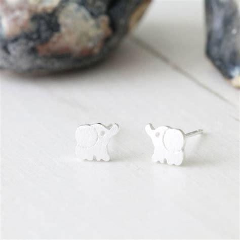 silver elephant ear studs earrings by attic