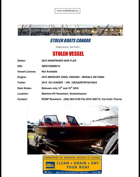 stolen boats engines trailers 778 229 6932 - Kingfisher Boats Sask