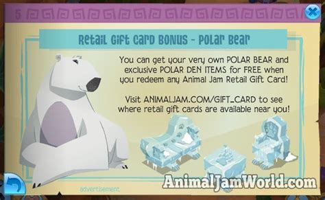 Animal Jam Membership Gift Card Codes - free polar bear code with every animal jam gift card animal jam world