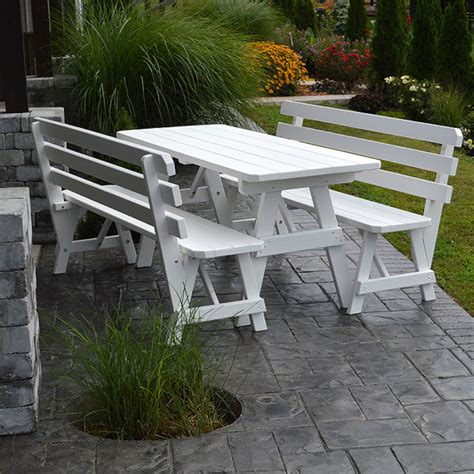 pine picnic bench yellow pine backed bench 6ft picnic table set