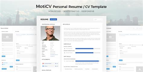 moticv responsive resume cv html5 template