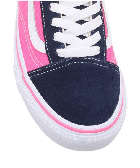 Vans Navy Pink Wam vans navy and pink skool trainers in blue for lyst