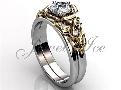 14k two tone white and yellow gold unique