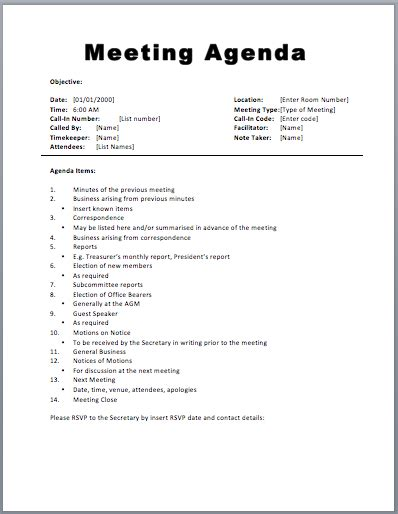 corporate minutes template word meeting agenda template word template business