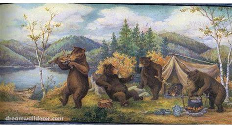 wildlife wallpaper border home 187 blue mountain bears