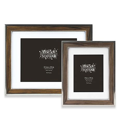 bed bath and beyond picture frames logan wood grain picture frame with mat in walnut silver
