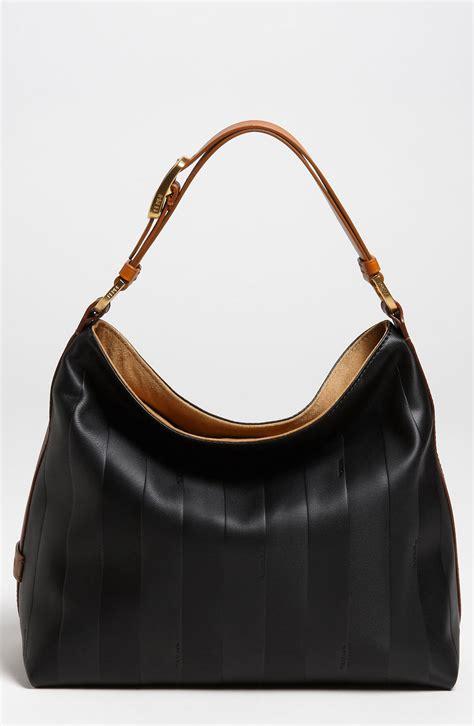 Fendi Hobo by Fendi Pequin Small Leather Hobo In Black Black