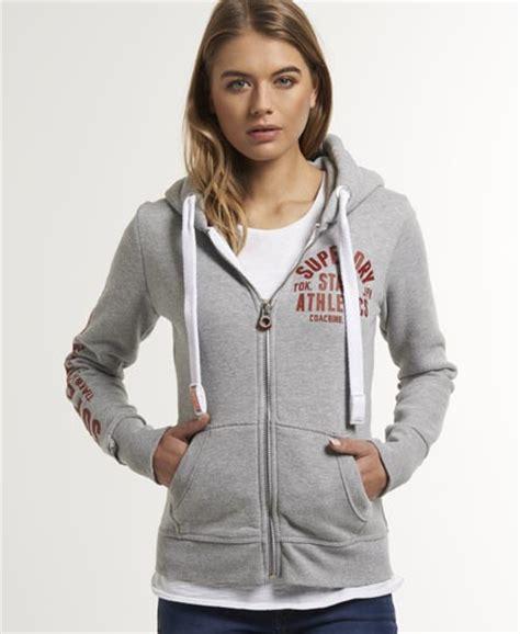 Superdry Black Leather List Grey womens track field zip hoodie in grey marl superdry