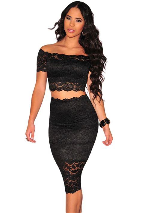 Black Lace Set Crop Topskirts 9045 black lace shoulder crop top and skirt set skirt set black laces and shoulder