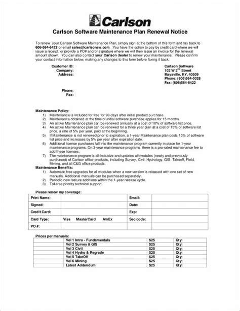 Maintenance Renewal Letter