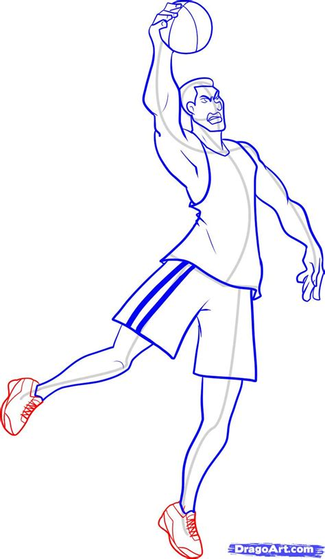 Basketball Play Drawer by How To Draw A Basketball Player Step By Step Sports Pop