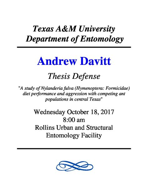acknowledgement thesis defense thesis defense andrew davitt ecology and evolutionary