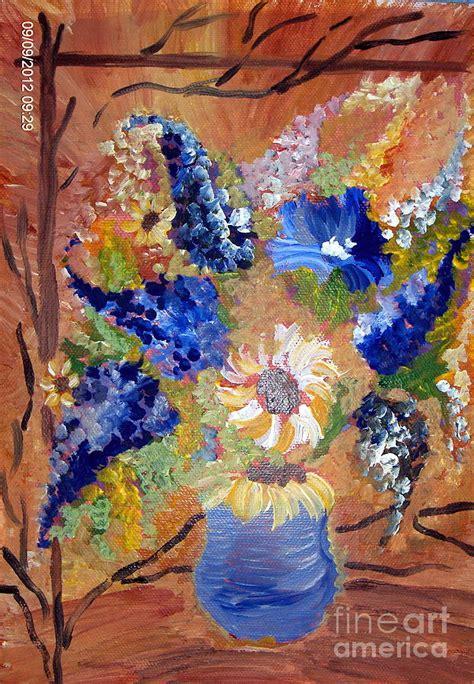 art dinca flori albastre painting by farfallina art gabriela dinca