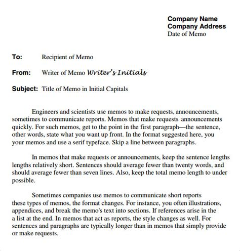 Memo Format Company Sle Company Memo Template 6 Free Documents In Pdf Word