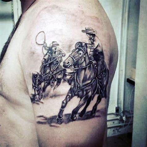 western style black and white cowboy with horses tattoo on