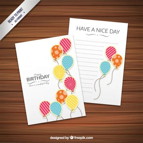 fancy birthday card templates birthday card template with fancy balloons vector free