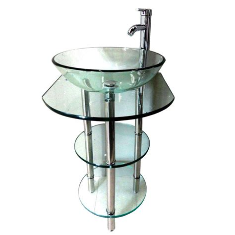 glass bathroom stand pedestal combo bathroom vanity sink in clear combo set 6