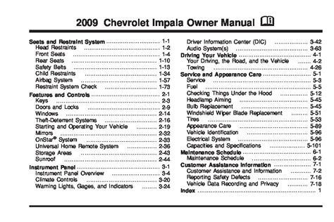 2009 Chevrolet Impala Owners Manual Just Give Me The
