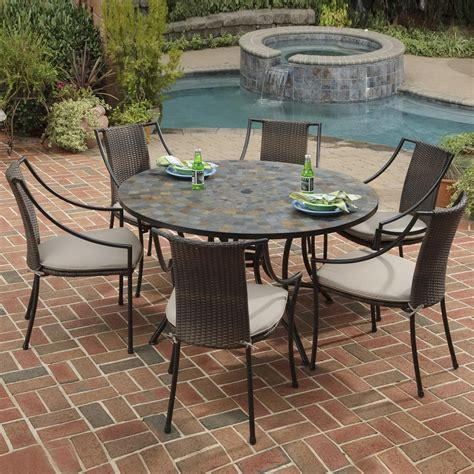 backyard table and chairs stone patio tables ideas homesfeed