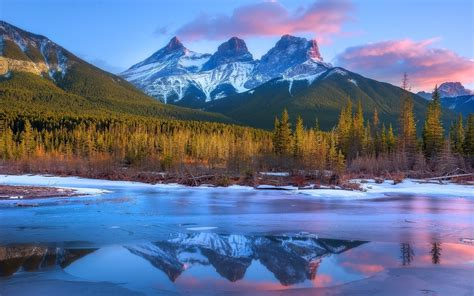 nature landscape frost mountain forest sunset canada