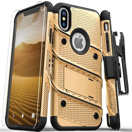 zizo bolt iphone xs max tough case screen protector gold black