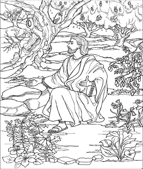 coloring page of jesus in gethsemane easter pinterest