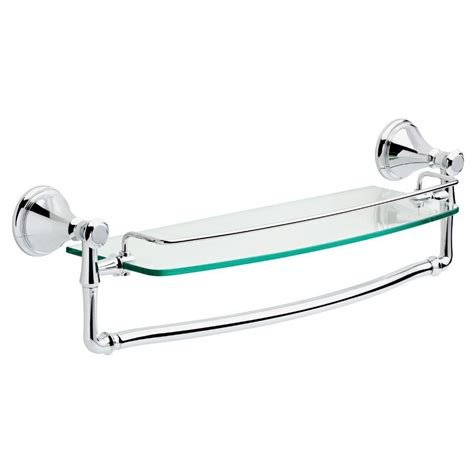 Chrome Bathroom Shelves For Towels Delta Cassidy 18 In Glass Bathroom Shelf With Towel Bar In Chrome 79710 The Home Depot